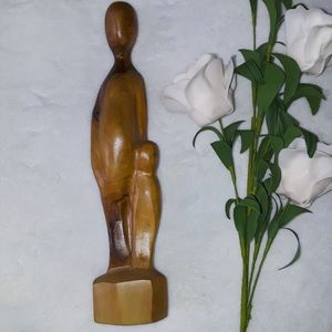 Mother and Child Wood Figure